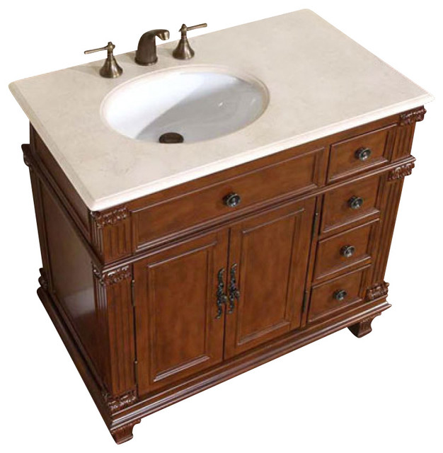 36 Inch Brown Bathroom Vanity With Choice Offset Single