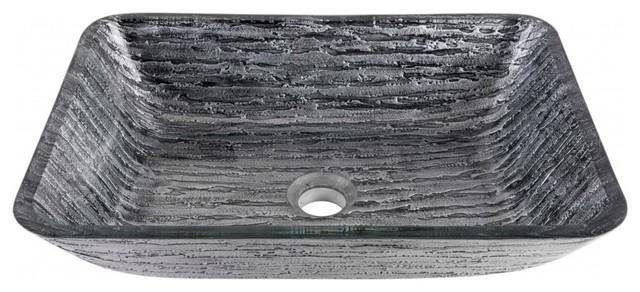 Vigo Rectangular Titanium Glass Vessel Bathroom Sink.