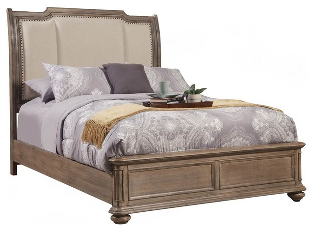 """Sleigh Bed, French Truffle Finish, Eastern King, 88.5""""x79.5""""x62""""."""