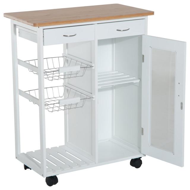Glitzhome Wood Storage Cabinet Trolley Rolling Kitchen Cart Island Dining Table Kitchen Islands Kitchen Carts Home Garden