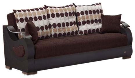 Empire Furniture Usa Illinois Convertible Folding Sofa Bed, Dark Brown.