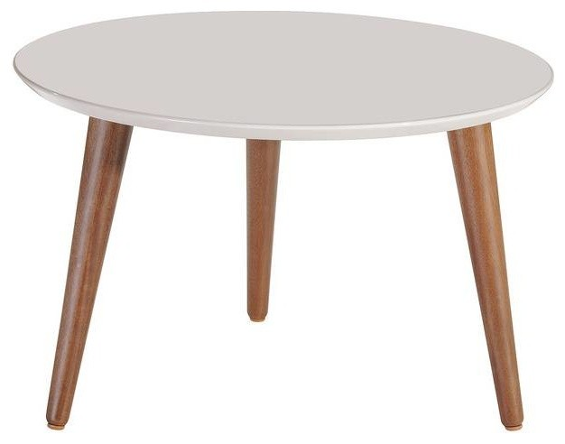 Mid Century Modern Round Wooden Accent Coffee Table Off White