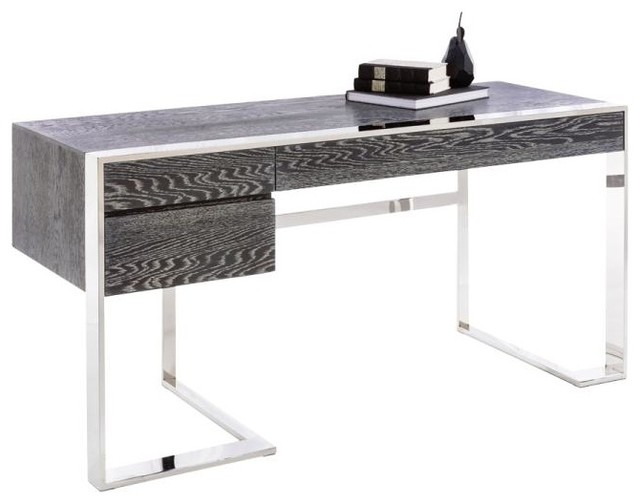 Modern Desk modern desk, german oak veneer and polished stainless steel base