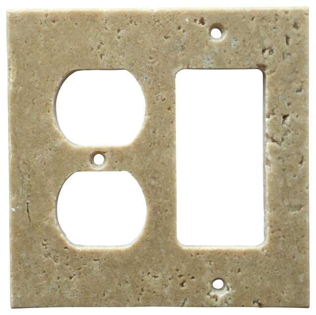 Light Walnut Travertine Switch Plate Cover Rocker Duplex