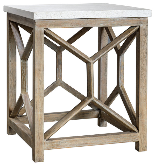 Open Light Weathered Wood Accent Table, Stone TopxNatural Minimalist Square
