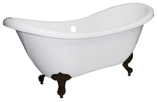 "68"" Double Ended Slipper Tub, Without Faucet Holes, Oil Rubbed Bronze Feet."