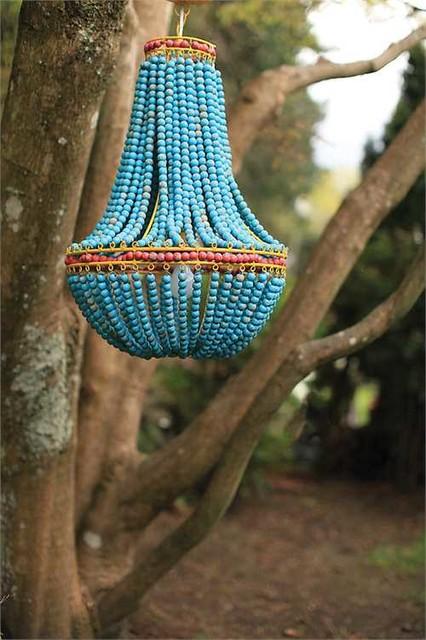 blue wood beaded chandelier