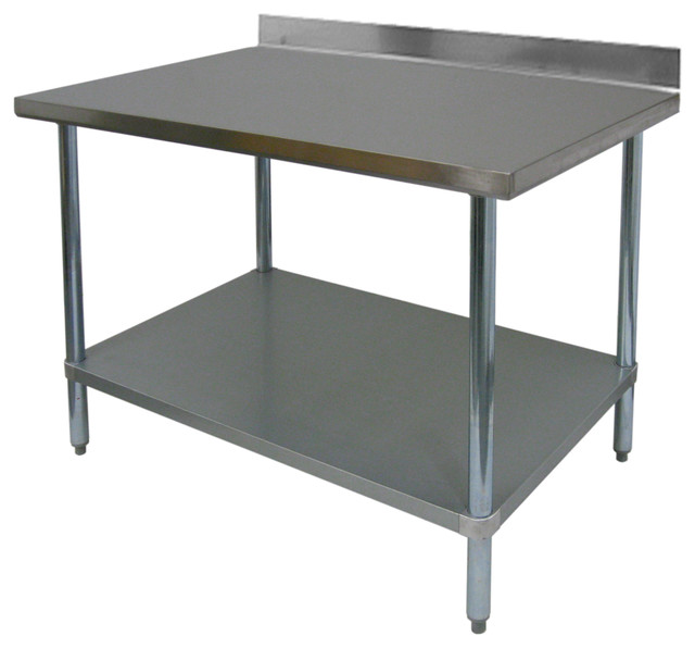 """30"""" Deep Commercial Duty Stainless Steel Flat Top Work Table, 36"""""""