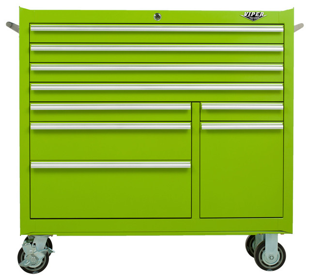 """41"""" 9-Drawer 18G Steel Rolling Tool Cabinet, Lime - Industrial - Garage And Tool Storage - by ..."""