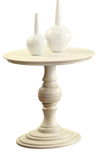 Riverside Furniture Placid Cove Round Pedestal End Table In Honeysuckle  White Transitional Side Tables