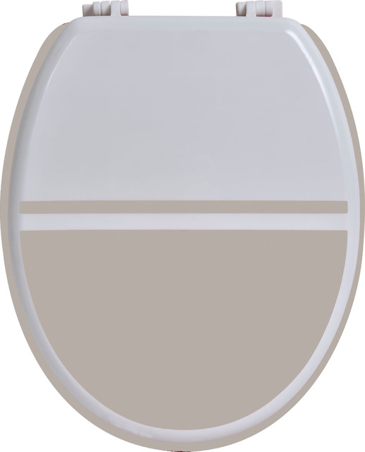 Two Colored Oval Elongated Toilet Seat White Taupe  Wood modern toilet. Two Colored Oval Elongated Toilet Seat Wood   Modern   Toilet