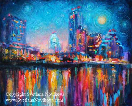 Austin City skyline cityscape painting at night 2  : contemporary artwork from www.houzz.com size 538 x 432 jpeg 138kB