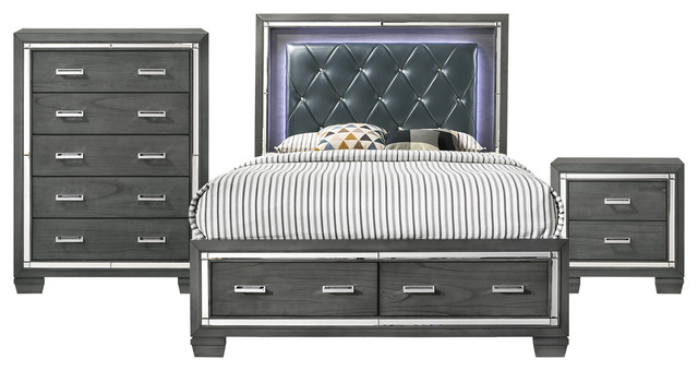 Picket House Furnishings Kenzie Queen Storage 3 Piece Bedroom Set Traditional Furniture Sets By