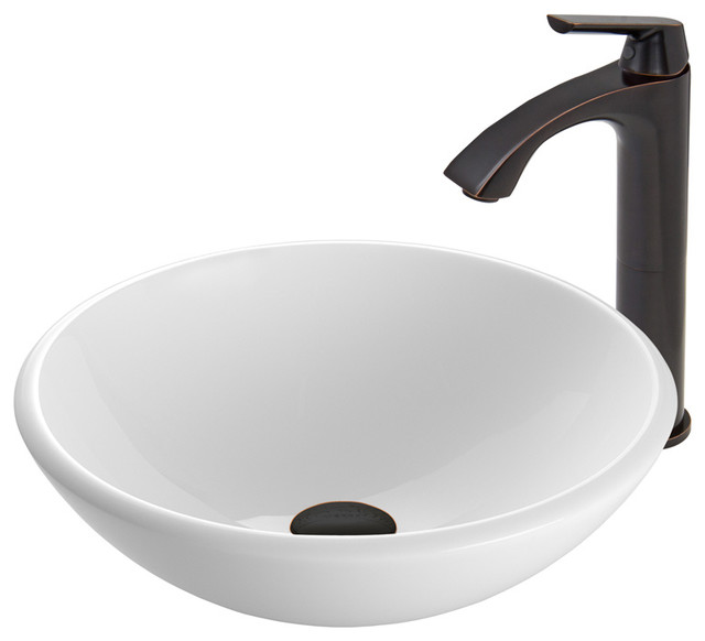Bathroom Sinks In Phoenix vigo white phoenix stone vessel sink and linus faucet, antique