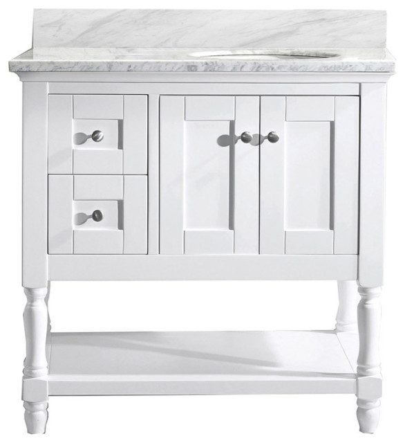 "Julianna 36"" Single Bathroom Vanity, White With Marble Top and Round Sink"