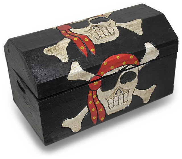 Wooden Pirate Skull Treasure Chest Storage Box  Traditional Kids Room Accessories