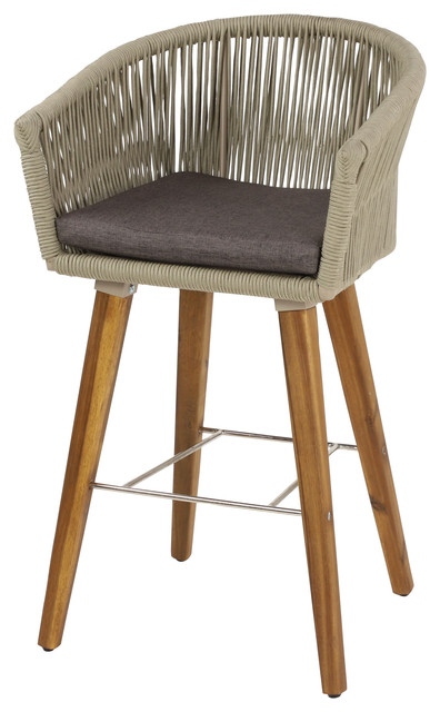 Stupendous Modern Gray Indoor Outdoor Bar Stool With Acacia Wood Legs And Rope Detail Pabps2019 Chair Design Images Pabps2019Com
