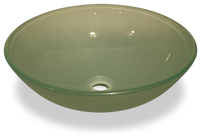 Frosted Green Glass Vessel Sink   No Overflow Valve Bathroom Sinks