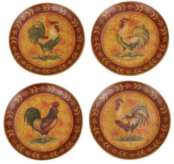 Traditional 8  French Country Rooster Plates ...  sc 1 st  Houzz & Traditional 8