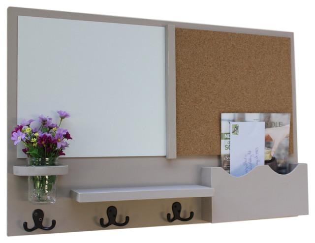 Large Slot Mail Organizer With Whiteboard Corkboard Coat Hookason Jar