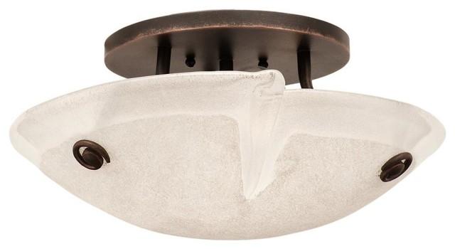 Kalco Lighting 4296TO/FROST Tribecca Flush Mount Light, Tortoise Shell