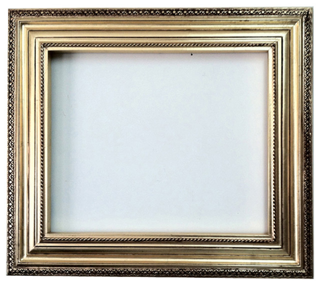 Decorative Wall Mirror Frame In Bright Gold Leaf Bronze With Brown 20x24