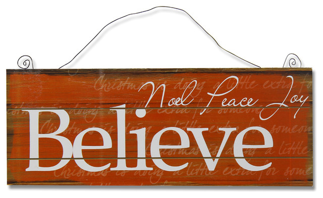 "Believe"" Christmas Sign - Contemporary - Novelty Signs - by Adeco ..."