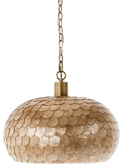 La Sirena Capiz Sea Shell Ball Pendant Lamp, Champagne Color, 1 Bulb.
