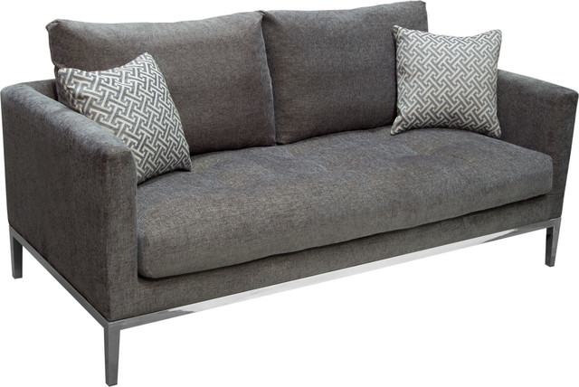 Chateau Loose Pillow Back Loveseat In Azure Gray Fabric, Gray.