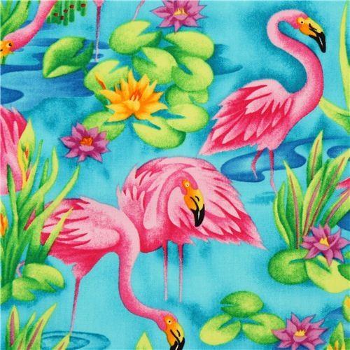 turquoise flamingo animal fabric by Timeless Treasures