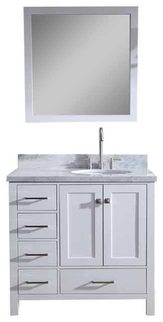 Ariel Cambridge 37 Single Sink Vanity Set With Right Offset Sink White Transitional