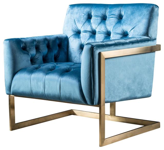 Brenda Modern New Velvet Club Chair With Stainless Steel Frame, Aqua/Gold