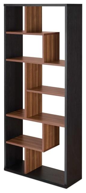 "32"" X 12"" X 71"" Black And Walnut Veneer Cube Bookcase"
