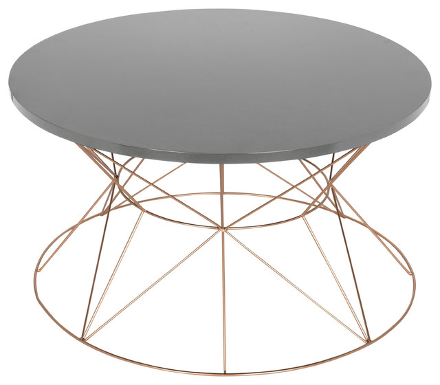 Gold Metal Round Coffee Table.Mendel Round Rose Gold Metal Coffee Table Gray