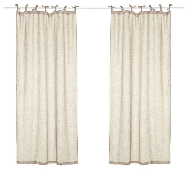 Hilary Linen Curtains With Tie Top, Natural.