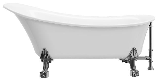"""Dorya Acrylic 69"""" Clawfoot Tub."""