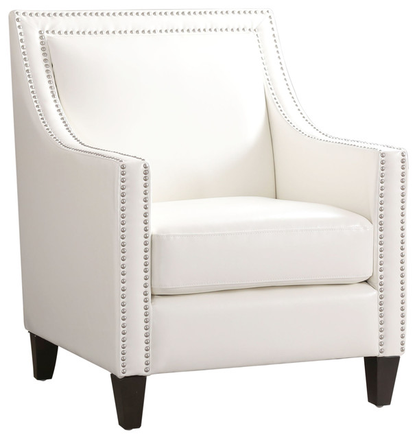 Magnificent Shelby Faux Leather Nailhead Arm Chair White Bralicious Painted Fabric Chair Ideas Braliciousco