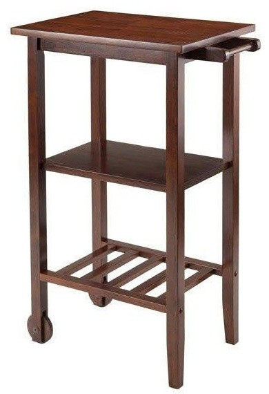 Winsome Stevenson Kitchen Cart With 2 Wood Wheels