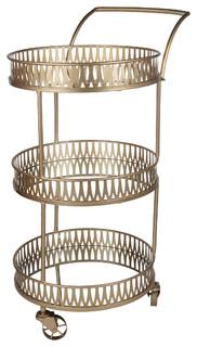 "Urban Vogue Round Bar Cart, Gold, 25x18x37.5"""