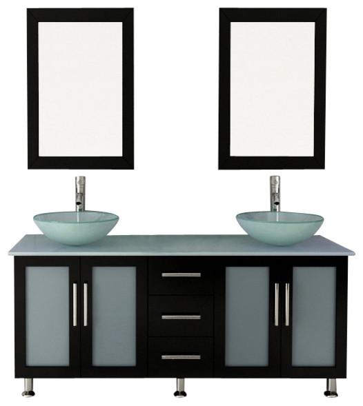 59 Double Lune Large Glass Vessel Sink Modern Bathroom