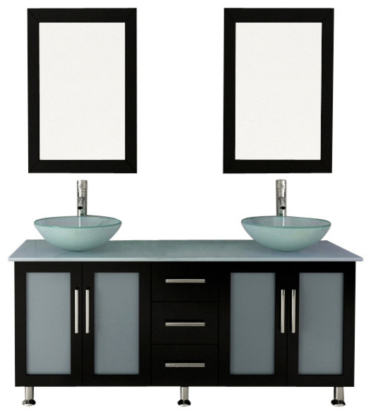 59 Double Lune Large Gl Vessel Sink Modern Bathroom Vanity With Top