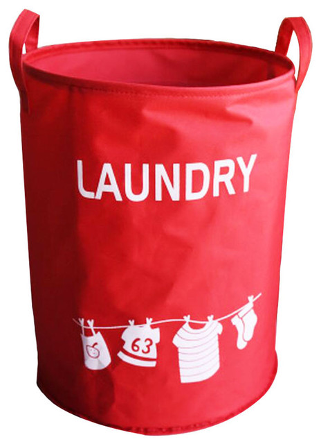 Polyester Home Laundry Baskets Clothes Hamper Storage Toy Organizer, Red.