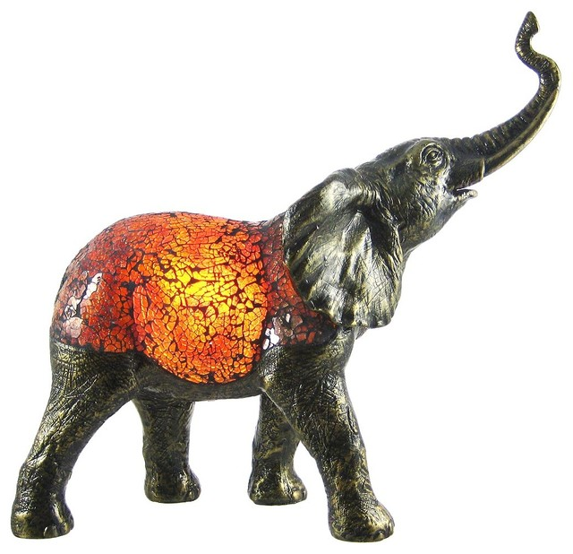 Amber Crackle Glass Elephant Accent Lamp Bronzed Base