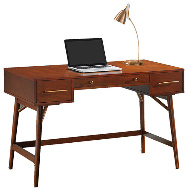 home office laptop desk walnut white writing desk with 3 drawers walnut