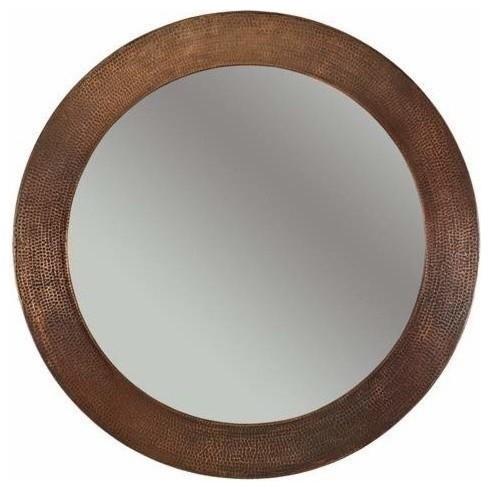 "Premier Copper Products 34"" Round Copper Mirror - Bathroom Mirrors | Houzz"