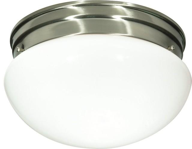 2 Light - 10 - Flush Mount - Medium White Mushroom.