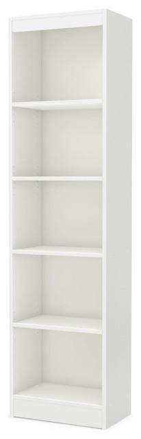 5-Shelf Narrow Bookcase Storage Shelves, White Wood Finish.