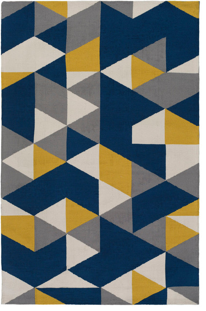 joan joan-6087 navy blue and yellow and gray contemporary rug