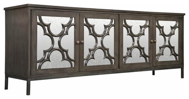 Dark Wood Mirrored Credenza : Bobby global bazaar mirror 4 door dark gray sideboard cabinet
