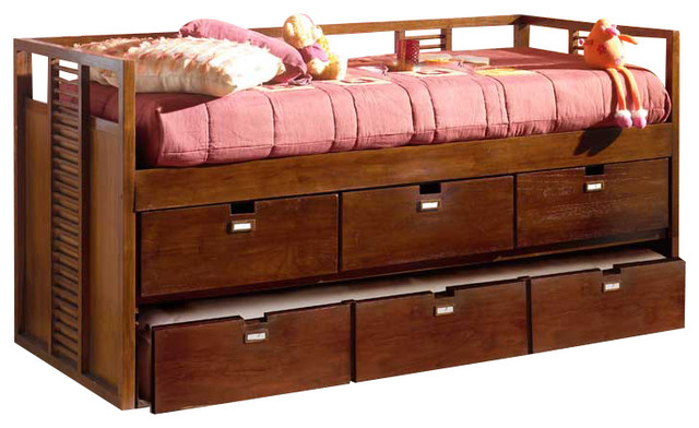 Banak Importa Stick Trundle Bed With Drawers.